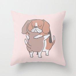 Beagle Hugs Throw Pillow