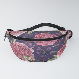 Pink Roses Romantic On Purple Fanny Pack