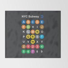 New York City subway alphabet map, NYC, lettering illustration, dark version, usa typography Throw Blanket