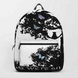 We're All Mad Here III - Alice In Wonderland Silhouette Art Backpack