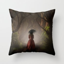 Satin red dress Throw Pillow