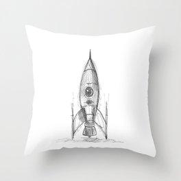 retro rocket Throw Pillow