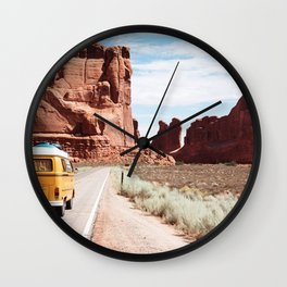 Road Trip Landscape Scene Wall Clock