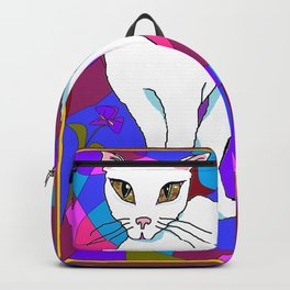Pretty White Kitty in the Window - Stained Window Backpack