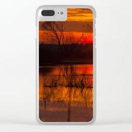 Sundown over Biebrza river in Poland Clear iPhone Case