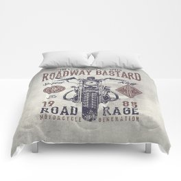 Vintage Motorcycle Poster Style Comforters