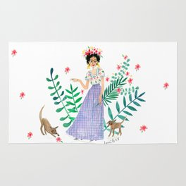 Frida and two cute pups Rug