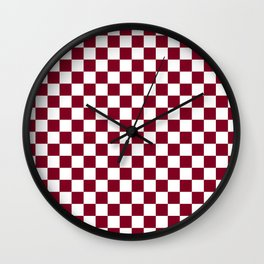 White and Burgundy Red Checkerboard Wall Clock