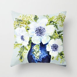 Anemones in vase Throw Pillow