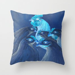 Henpecked In Blue Throw Pillow