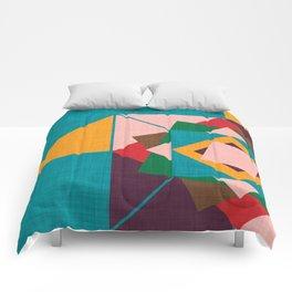 wind rose teal Comforters