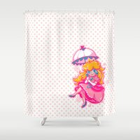 princess peach Shower Curtains featuring Sweet Peach by Miski