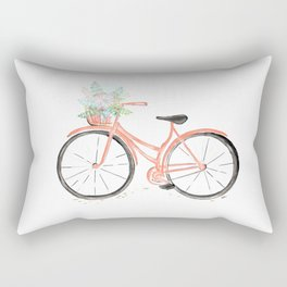 Coral Spring bicycle with flowers Rectangular Pillow