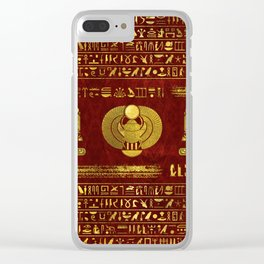 Golden Egyptian Scarab on red leather Clear iPhone Case