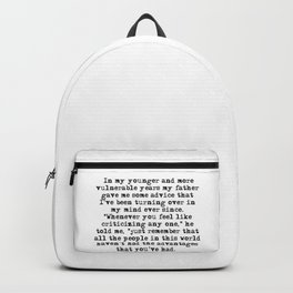In my younger and more vulnerable years - F Scott Fitzgerald Backpack