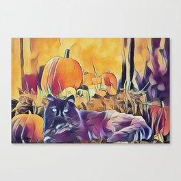 Black Cats & Pumpkins Canvas Print