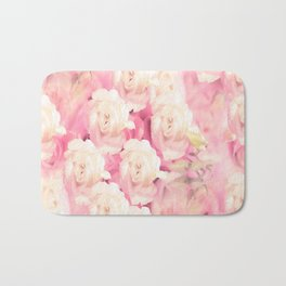 White and pink flowers in summer romance - vintage style Bath Mat