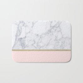 Marble Gold Blush Pink Pattern Bath Mat