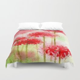 Watercolor Painting-Red Flowers Duvet Cover