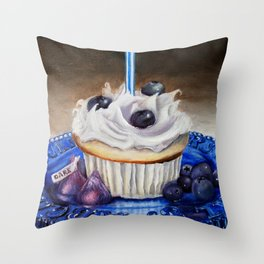 Celebration In Blue Cupcake Painting Throw Pillow