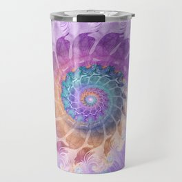 Painted Fractal Spiral in Turquoise, Purple, and Orange Travel Mug