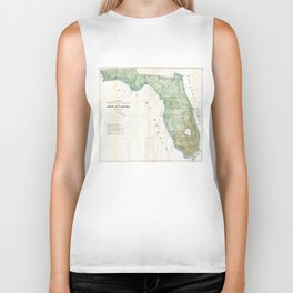 Vintage Map of Florida (1853) Biker Tank