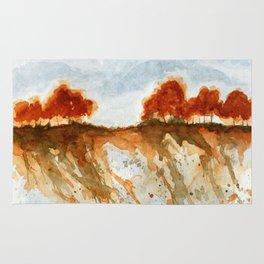Firebranch Ridge, Watercolor Abstract Landscape Art Rug