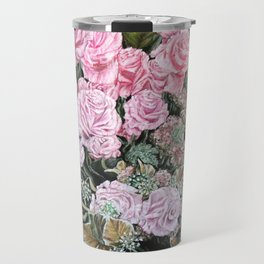 A LIFE TIME COMMITMENT - Pink Rose And Anthurium - Original Fine Art Floral painting by HSIN LIN Travel Mug