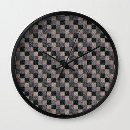 Rustic Gray Green Beige Black Patchwork Wall Clock