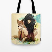 ariana grande Tote Bags featuring Fox Love by Ariana Perez