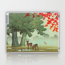 Vintage Japanese Woodblock Print Nara Park Deers Green Trees Red Japanese Maple Tree Laptop & iPad Skin