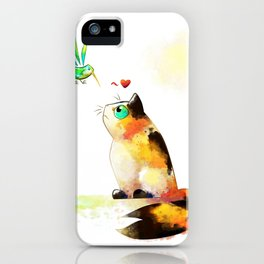 The cat and the hummingbird iPhone Case