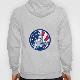 American Plumber and Pipefitter USA Flag Icon Hoody