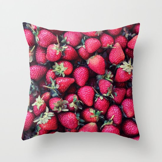 Summer Strawberries Throw Pillow