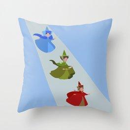 3 Fairies (Blue)  Throw Pillow