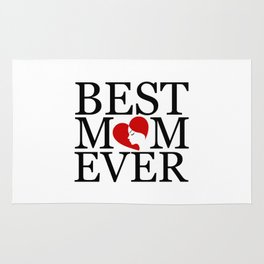 Best mom ever with face of a mother forming a heart- mothers day gifts for mom Rug