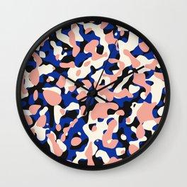 Blue retro camouflage pattern Wall Clock