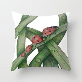 Lady Bug Family Throw Pillow