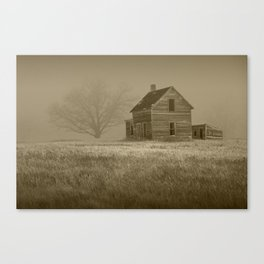 Sepia Toned Photograph of an Abandoned Farm House in an Early Morning Fog Canvas Print