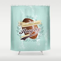 rugby Shower Curtains featuring ArtAngelo Sport - Rugby Vintage by ArtAngelo