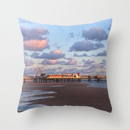Blackpool Central Pier Sunset Throw Pillow