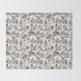 Alice in Wonderland | Toile de Jouy | Brown and White Throw Blanket