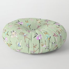 Animal Ballet Hipsters - Green Floor Pillow