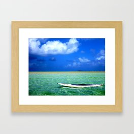 SUP on the Kaneohe Bay Sandbar, Hawaii  Framed Art Print