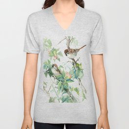 Sparrows And Apple Blossom Unisex V-Neck