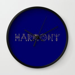 Harmony in Sacred Geometry Letters Gold Wall Clock