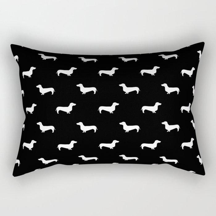 Dachshund pattern minimal black and white dog lover home decor gifts accessories silhouette Rectangular Pillow