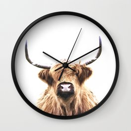 Highland Cow Portrait Wall Clock