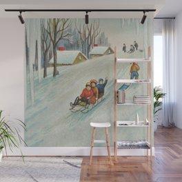 Happy vintage winter sledders Wall Mural