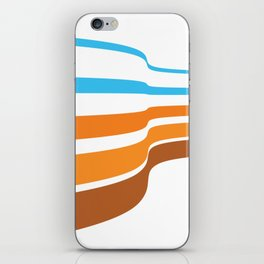BLUE, ORANGE  AND BROWN LINES  ON A WHITE BACKGROUND Abstract Art iPhone Skin